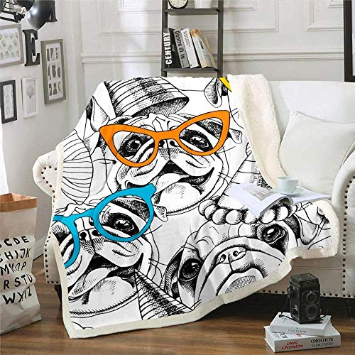 AGAGRG 3D Impreso Pug con Gafas Lanzar Manta Caliente Super Suave Reversible de Felpa Fleece Manta para Dormitorio sofá Couch Ropa de Cama Manta difusa, 200 * 150 cm