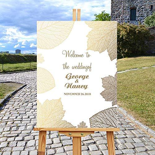 gjdgj Cartel de Bienvenida Personalizado para Bodas Madera con Hojas de Flores Bienvenido a Nuestros Carteles de Boda Cartel de Bienvenida 1 45x60cm