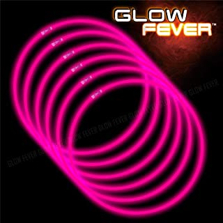 Glow Sticks Bulk 50ct 22'' Glow Necklaces with Connectors, for Party Festivals Raves Birthday Wedding, Pink