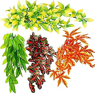 4 stuks Kunstmatige Reptielen Planten Reptielen Leefruimte Planten Opknoping Terrarium Planten Versierd met Zuigplanten