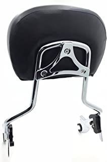 HTTMT 501-005+T- adjustable Chrome Backrest Sissy Bar w/Leather pad w/Hollow-out Mounting Plate Compatible with ALL YEAR Harley Davidson Touring FLHR- Road King FLHX- Street Glide (NEED DOCKING,SOLD