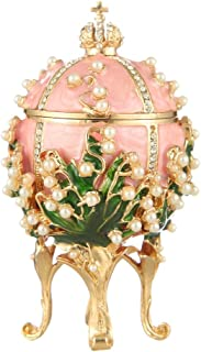 danila-souvenirs Decorative Russian Faberge Style Egg/Trinket Jewel Box with Russian Emperor's Crown & Flowers pink 3.2''