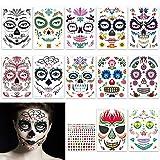 FHzytg 12 Stück Halloween Schminke Temporäre Gesicht Tattoos mit 1 Stück Diamant Aufkleber, Tag...