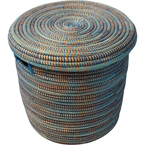 EA Déco Naturel & Design PLG2TBLE Panier Salandere PM, Plastique, Tricolore Bleu, 40 x 40 x 40 cm