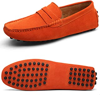 GESDY Mens Dress Penny Loafers Moccasins Driving Shoe Casual Suede Slip on Flats Boat Shoes