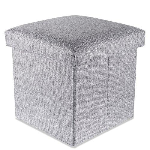 Intirilife Faltbarer Sitzhocker 30x30x30 cm in Alaska GRAU - Sitzwürfel mit Stauraum und Deckel aus Stoff in Leinen Optik - Sitzcube Fußablage Aufbewahrungsbox Truhe Sitzbank