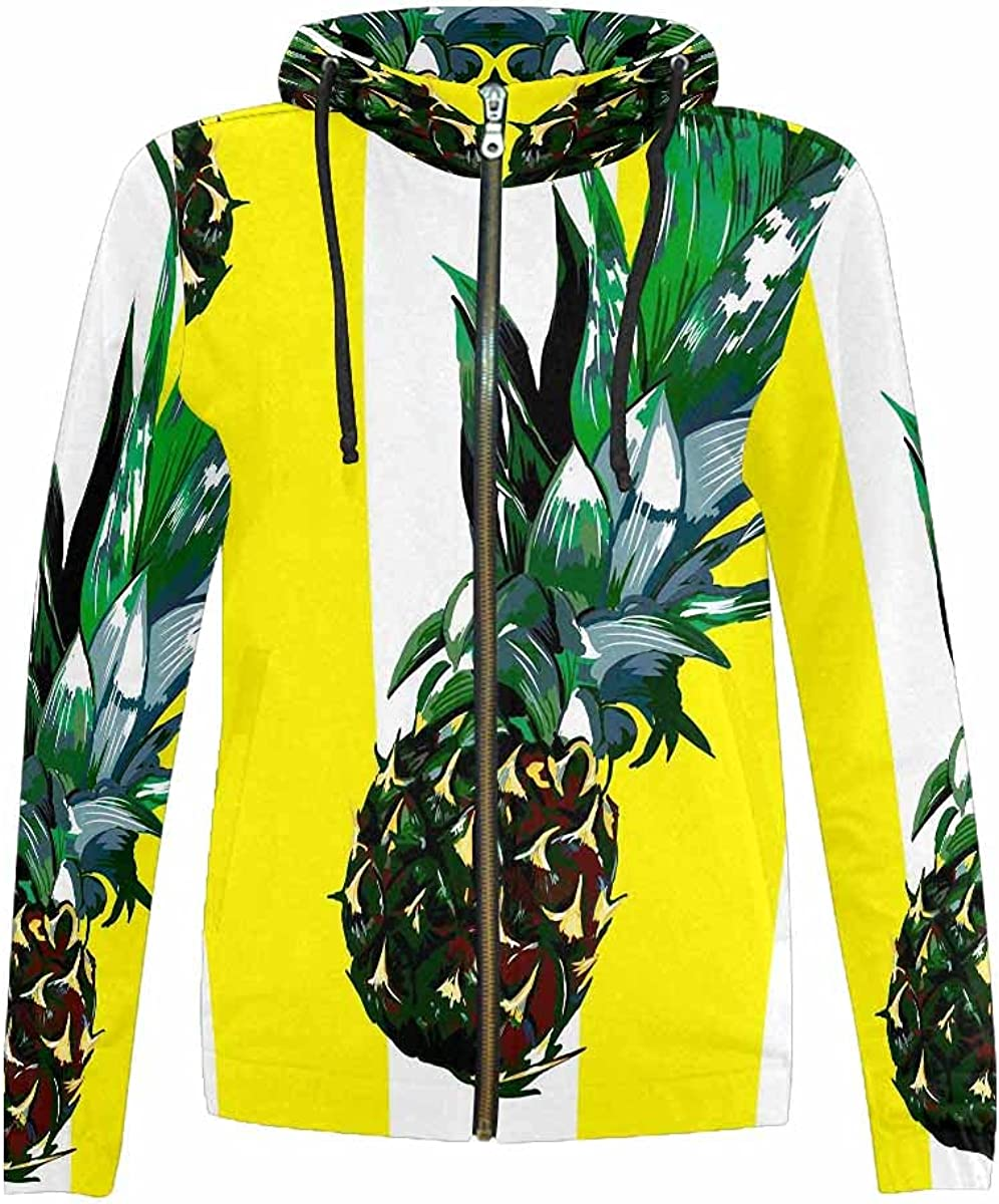 sold out InterestPrint 5 ☆ very popular Pinapples and Watermelons Full Stand Collar Ho Zip