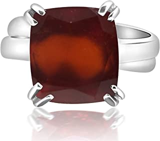 7.25-7.50 Ratti Natural & GJSPC Certified Hessonite Garnet (Gomed) Astrological Gemstone Adjustable Silver Ring by ARIHANT GEMS & JEWELS