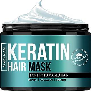 Tratamiento de queratina complejo para la reparación profunda de la raíz del cabello dañado y el cabello seco dañado ? ECOFLEX5 Complejo con queratina, biotina, colágeno, manteca de karité natural, aceite de argán marroquí y aceite de aguacate