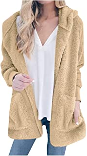 Loosebee◕‿◕ Autumn and Winter New Solid Color Plush Hooded Fashion Cardigan Coat Female Hooded Thick Long