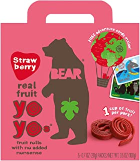 BEAR - Real Fruit Yoyos - Strawberry - 0.7 Ounce (12 Count) - No added Sugar, All Natural, non GMO, Gluten Free, Vegan - Healthy on-the-go snack for kids & adults