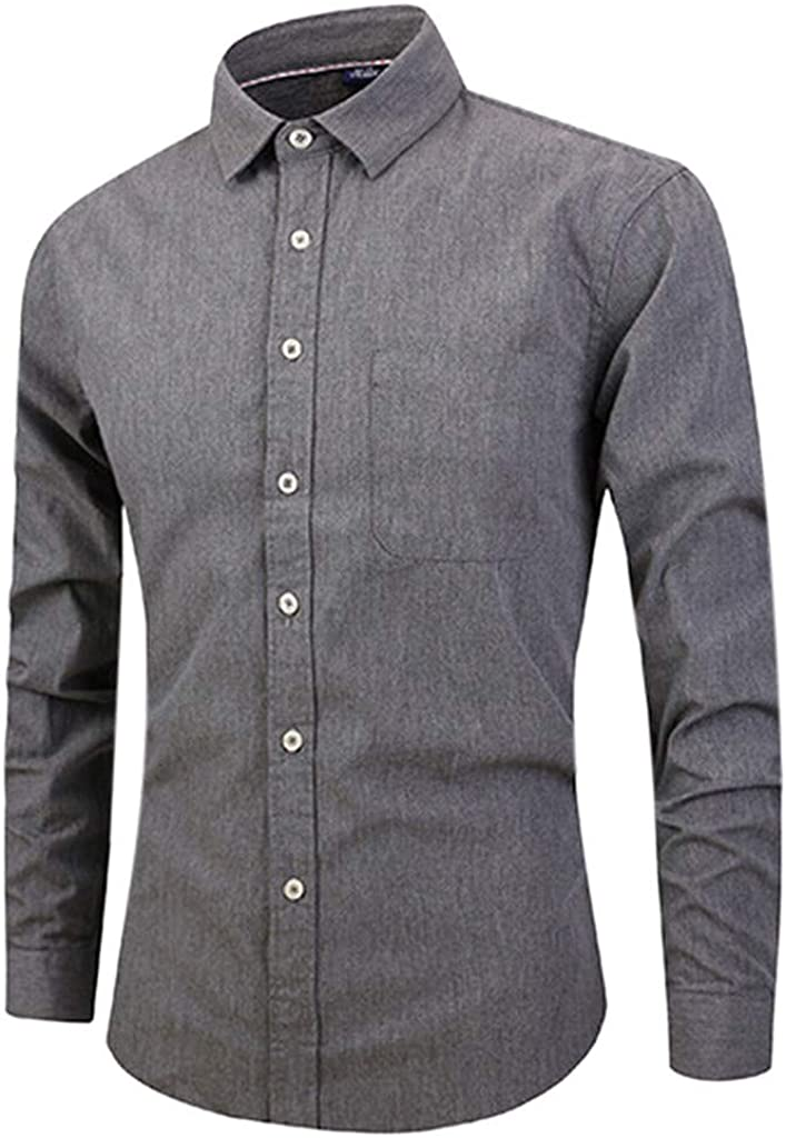 MODOQO Men's Slim Fit Long-Sleeve Solid Button Down Shirts for Office Wedding Party