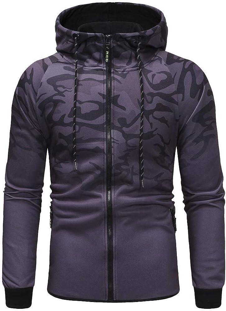 Misaky Hoodies for Men Autumn Winter Sports Slim Camouflage Zipper Pocket Long Sleeve Hooded Sweatshirt