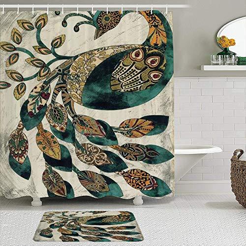 Ngkaglriap Duschvorhang Sets mit rutschfesten Teppichen,Cyan Brown Schönes Muster Feder Pfau, Badematte + Duschvorhang mit 12 Haken