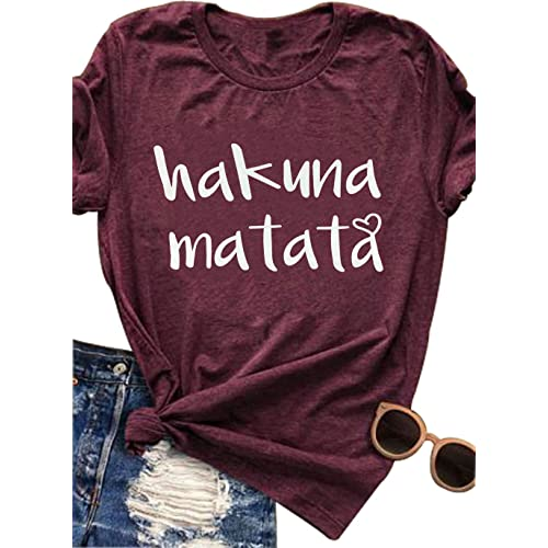 b4589820a7 Women s Hakuna Matata Letter Print Funny T Shirt Short Sleeve Tee Top Casual