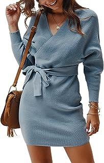 Suéter de Punto de Invierno Paquete Sexy suéter cálido de Cadera Top Ropa de Mujer (Azul Claro, L)