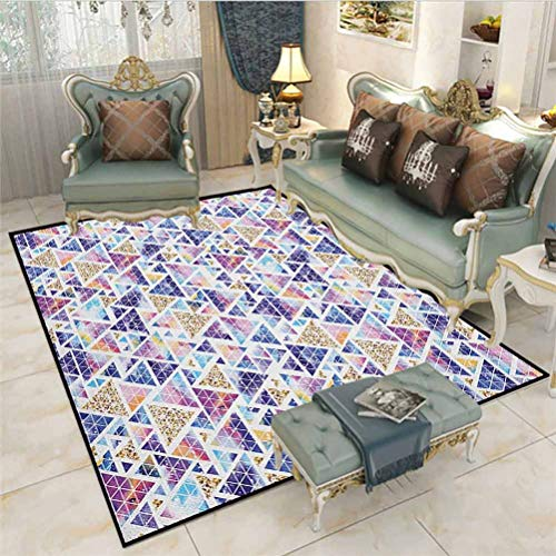 Geometric Children Boys Girls Bedroom Rugs Abstract Triangular Space Design Vintage Universe Pattern Art Neon Like Colors for Living Room and Bedroom Nursery Rugs Multicolor 4 x 5 Ft