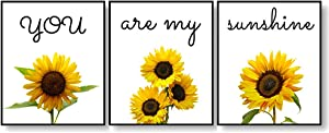 Set of 3 Sunflower Kitchen Decor, You Are My Sunshine, Quotes Sayings Wall Art Floral Prints Poster For Bedroom Bathroom Living Room Office Decorations