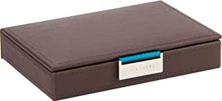 STACKERS - Men's Brown Mini Lidded Stacker Cufflink Box with Multi-Color Pin-Stripe Lining