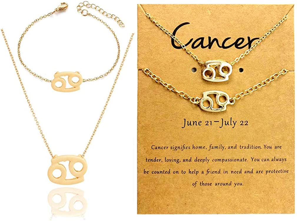 Yamberdoly Astrology Zodiac Necklaces Bracelets for Women Girls Gold Plated Horoscope Sign Necklaces and Bracelet Constellation Set Gifts