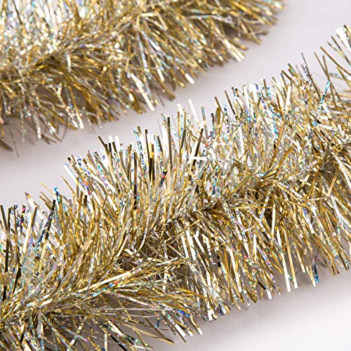 iPEGTOP 3 Pcs x 6.6ft Christmas Tinsel Garland, Classic Thick Colorful Reflections Shiny Sparkly Soft Party Hanging Tinsel Ornaments Ceiling Christmas Tree Decorations, 4 inch Wide - Gold