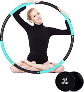 OPLIY Weighted Hoola Hoop 2lb with Core Sliders Weight Loss Burning Fat Fitness Dance Workout Hoola Hoops for Adults