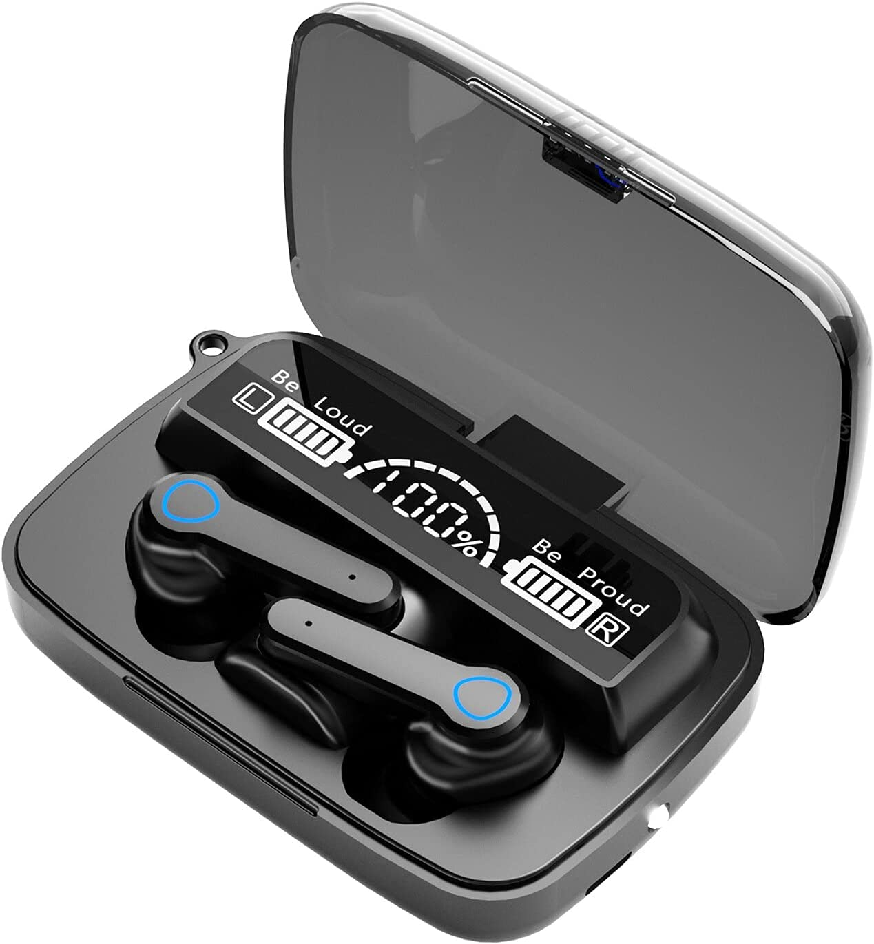 BD&M True Wireless Earbuds, Bluetooth 5.0 in-Ear TWS Stereo Headphones with Smart LED Display Charging Case Waterproof Built-in Mic for Sports Work Running Compatible with iPhone and Android