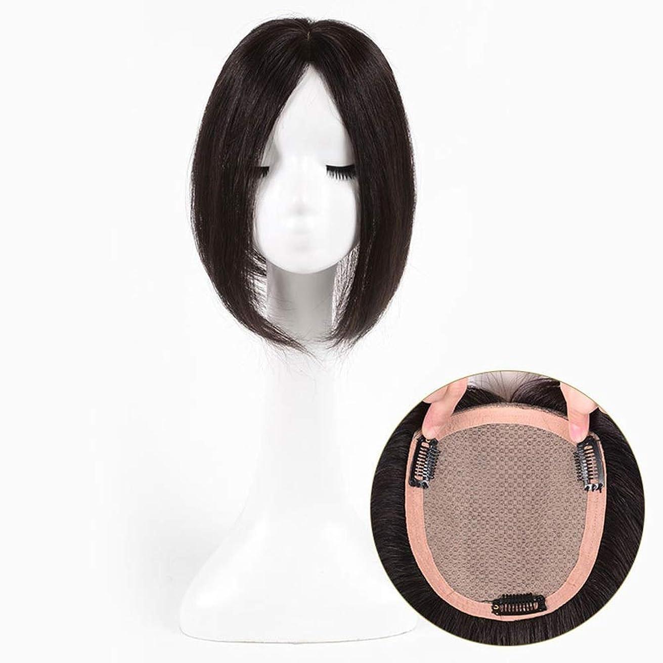 スクランブル視力君主制BOBIDYEE 100%本物のヘアエクステンションロングストレートヘアのためのNatrual探しているクリップ合成髪レースかつらロールプレイングかつら長くて短い女性自然 (色 : [9x10] 20cm dark brown)
