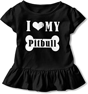 Boys&Girls I Love My Pitbull Bone Cute Short Sleeve Ruffles Tee T-Shirt for 2-6 Years Old