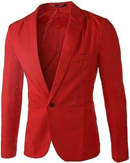 Jueshanzj Mens Blazer One Button Slim Red X-Large