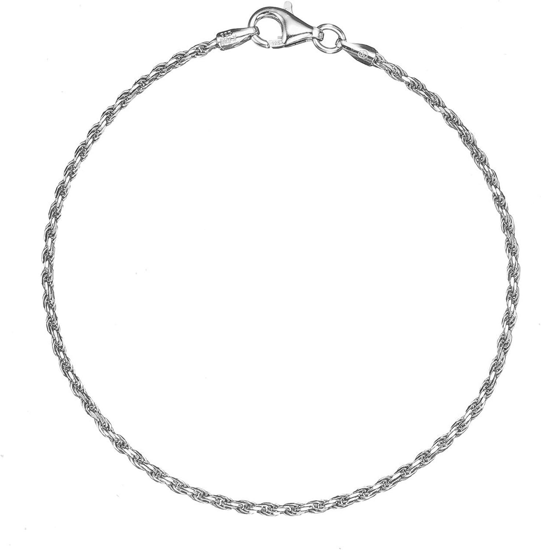Sterling Silver 1.6mm Italian Twisted Rope Chain Bracelet 7