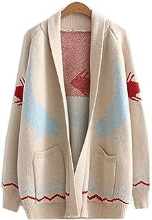 Women's Fashion Fish Printed Cardigan Sweater Long Sweaters Coat