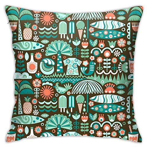 Scandian Surf - Funda de almohada de verano para sofá, cama, silla, coche, 45,7 x 45,7 cm