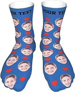 Z dongjun, Calcetines personalizados con estampado divertido Calcetines divertidos personalizados Convierte la foto en Calcetines con diseño de corazón de amor con tu texto para hombres y mujeres