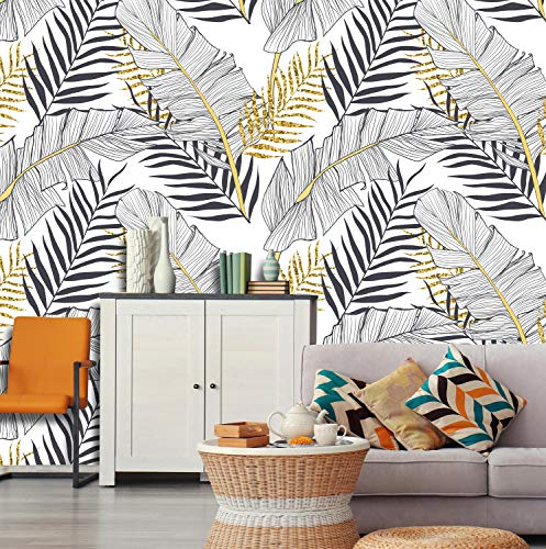 Removable Peel 'n Stick Wallpaper, Self-Adhesive Wall Mural, Watercolor Tropical Pattern, Nursery, Room Decor, Custom • Banana Gold Leaves (24'W x 144'H Inches)