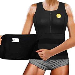 Junlan Women Sauna Waist Trainer Vest Weight Loss Neoprene Tank Top Body Shaper Cincher