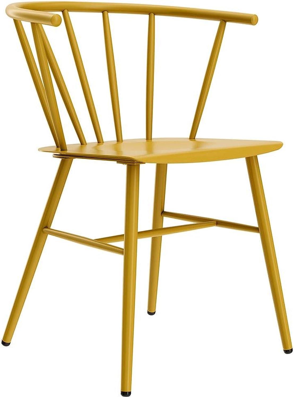 Novogratz Campbell Cottage Dining Chair, Metal Design, Yellow