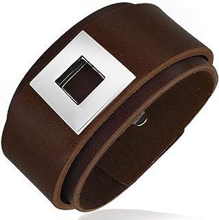 Bracelet homme ajustable tendance Zense ZB0093 en cuir tressé marron et noir