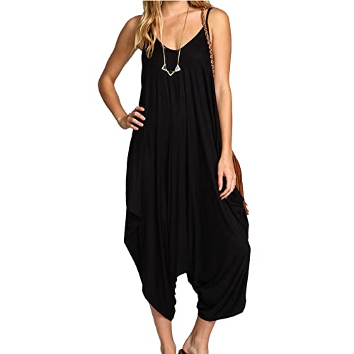 6ec12048ff Ladies Baggy Harem Jumpsuit Romper Sleeveless All in One V-Neck Cami  Playsuit