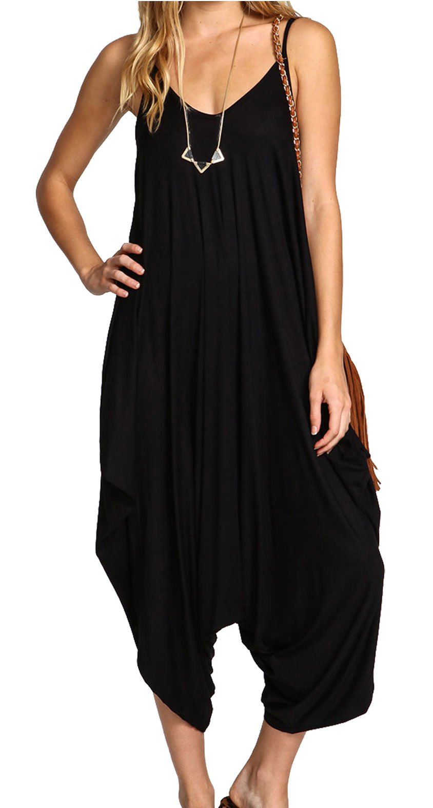 Re Tech UK Ladies Baggy Harem Jumpsuit Romper Sleeveless All in One V-Neck Cami Playsuit