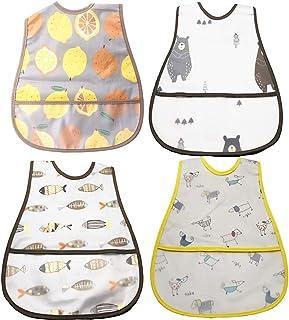 Setaria Viridis スーパービブ 赤ちゃん 食事エプロン ソフトスタイ ベビー防水よだれかけ 子供食事用スタイ 4枚セット