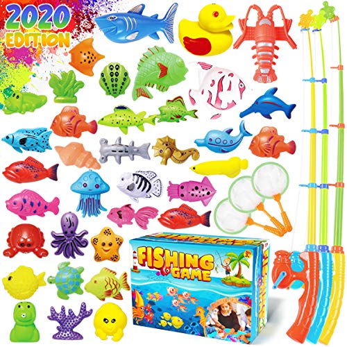 Dinonano Magnetic Fishing Pool Toys Game for Kids - Water Table Bath-tub Kiddie Party Toy with Pole Rod Net Plastic Floating Fish Toddler Color Ocean Sea Animals Age 3 4 5 6 Year Old