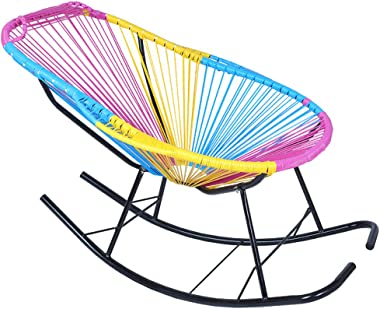 LPGY Indoor Outdoor Moon Rocking Chair, Garden Poly Rattan Chair with Pillow and Handle, Sun Lounger Deck Chairs for Patio Po