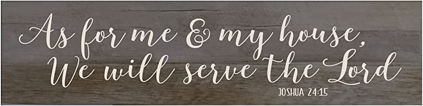LifeSong Milestones As for Me and My House Barnwood Sign Wall Art Decor Print Decoration for livingroom entryway Kitchen Bedroom (As for Me and My House)