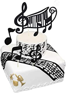Music Notes Cake Toppers,Musical Theme Birthday Party Supplies,Black Music Notes Cupcake Toppers (Black) Suitable for Kids, Adults, Girls, Boys