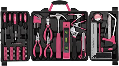 Apollo Tools DT0204P 71 Piece Household Tool Kit with Most Reached for Hand Tools in Storage Case Pink Ribbon