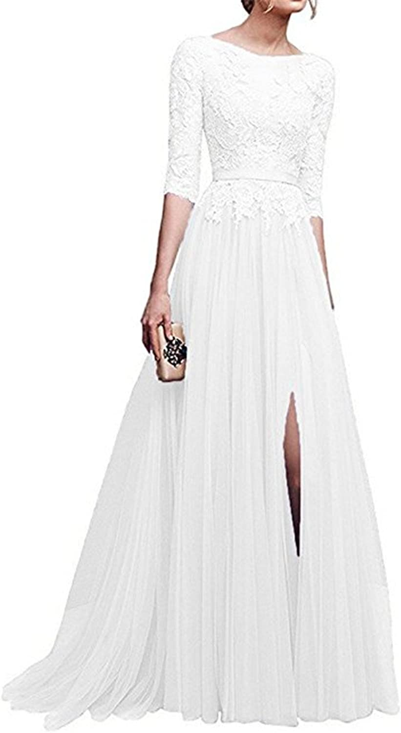 YSMei Womens Lace Half Sleeve Evening Prom Dress with Split Long Formal Gown P15