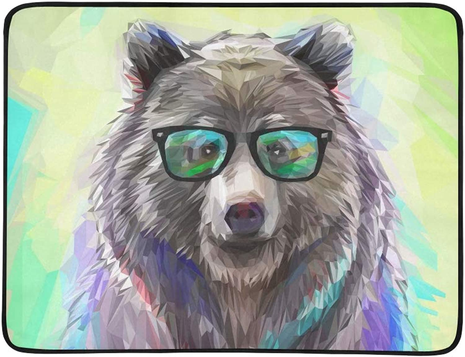 ecf2df5c48d5 Portrait Bear Animal Hipster Poly Low Cool Pattern 60x78 Travel ...