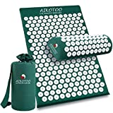Aikotoo Acupressure Mat and Pillow Massage Set Chronic Back and Neck Pain Relief Full Body Massager Yoga Acupuncture Mat Cushion for Sciatica,Trigger Point Therapy, Stress Relief and Muscle Relaxation
