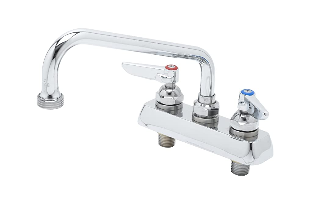 T&S Brass B-2491 Workboard Faucet, Deck Mount, 4-Inch Centers, 8-Inch Swing Nozzle, Garden Hose Tip, Lever Handles
